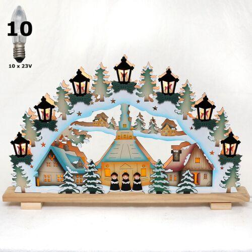 Fensterleuchter Deutsche Weihnacht  Schwibbogen Seiffener Kirche 57cm 3D-Optik