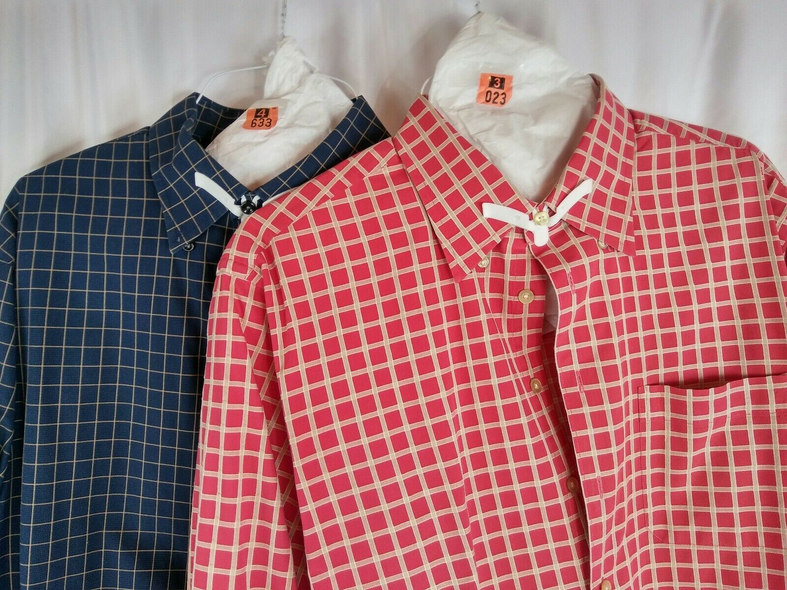 2 Scott Barber Shirts XL bluee gold Red gold Windowpanes Button Down Long Sleeves