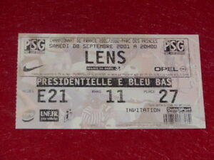 COLLECTION-SPORT-FOOTBALL-TICKET-PSG-LENS-8-SEPTEMBRE-2001-Champ-France