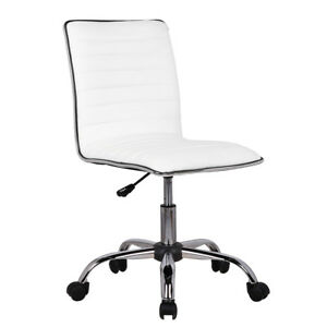 Strange Details About Low Back Armless White Ribbed Leather Designer Swivel Task Computer Desk Chair Pdpeps Interior Chair Design Pdpepsorg