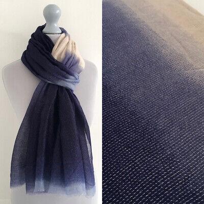 Navy Blue Wedding Shawl Sparkly Scarf Wrap Metallic Two Tone Ombre Sparkle Plain