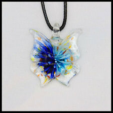 Fashion Women's butterfly lampwork Murano art glass beaded pendant necklace #A33