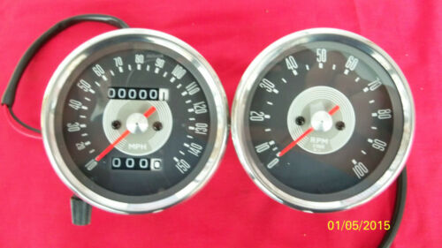 TRIUMPH MOTORCYCLE REPRODUCTION SMITH GREY FACED SPEEDOMETER & TACHOMETER