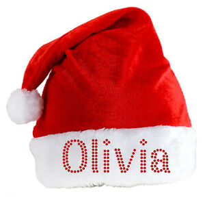 Personalised-SANTA-CLAUS-Hat-Luxury-Crystal-Christmas-hat-eve-Party-Xmas-Festive