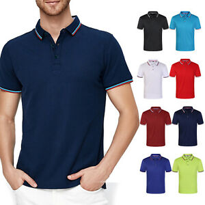 Men-039-s-Polo-Shirt-Dri-Fit-Golf-Sports-Striped-Cotton-T-Shirt-Jersey-Short-Sleeve