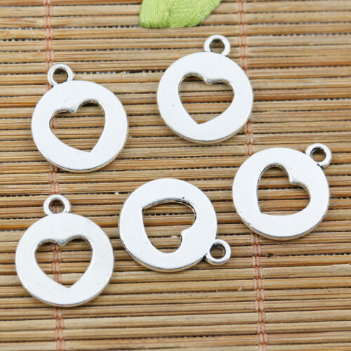 20pcs tibetan silver 14mm round heart hole in center charms EF2305