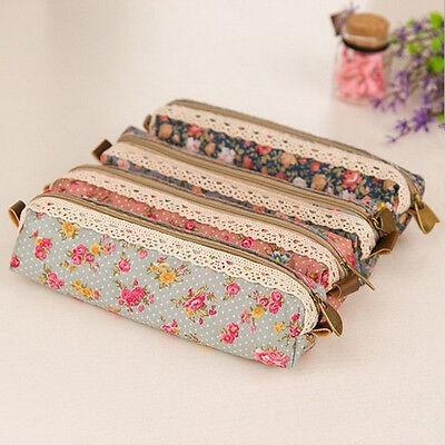 Unique Cute Flower Floral Pencil Pen Case Cosmetic Makeup Bag Zipper Pouch