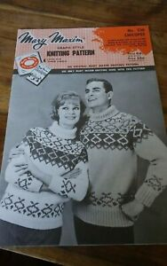 Vtg-Mary-Maxim-knitting-pattern-430-adult-youth-cardigan-pullover-chicopee