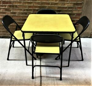 Genial Details About Vintage Mid Century Samsonite Folding Table And 4 Chairs Set  Chartreuse U0026 Black