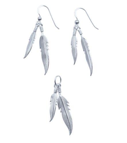Ohrringe Kettenanhänger oder Set Feder Indianerschmuck 925er Silber