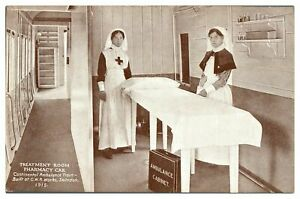 Antique-WW1-military-printed-postcard-Treatment-Room-Continental-Ambulance-Train