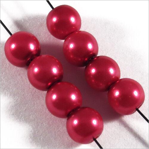 50 perles Nacrées 6mm Rouge Framboise verre de Bohème