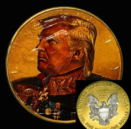 New Liberty 1oz Silver 24kt Gilded Coin 45TH COMMANDER  IN CHIEF DONALD TRUMP