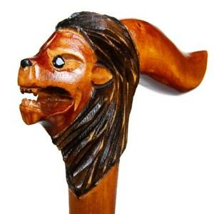 Lion-Head-Wooden-Cane-Walking-Stick-Handle-Handmade-Hand-Carved-Support-Canes