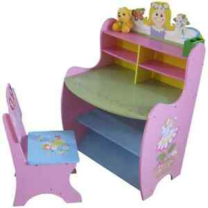 GIRLS-WOODEN-PINK-DESK-and-CHAIR-SET-Fairy-Princess-themed-bedroom-furniture