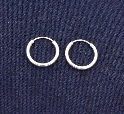 """3mm X45mm 1 3//4/"""" Large Plain Shiny Round Hoop Earrings Real 925 Sterling Silver"""