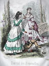 GRAVURE ANCIENNE MODE 19e - JOURNAL DES DEMOISELLES - JUILLET 1869