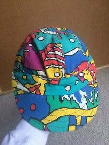 Vintage-90s-Kromer-Welding-Hat-Neon-Rainbow-Baseball-Cap-Hip-Hop-Abstract-Art