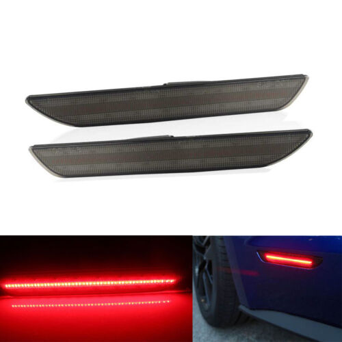 2 PCS Smoked Lens RED LED Rear Side Markers Lights Lamps For 2015 Ford Mustang