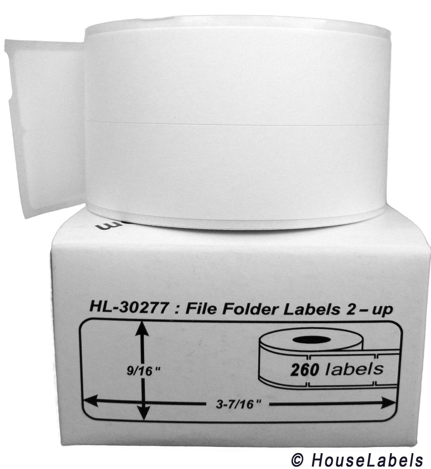 100 Rolls of 260 File Folder Labels (2-up) for DYMO® LabelWriters® 30277