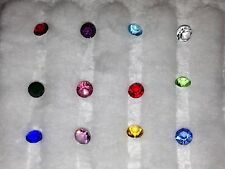 Set of 12 4 mm Round Birthstone/accent crystal charms for glass floating lockets