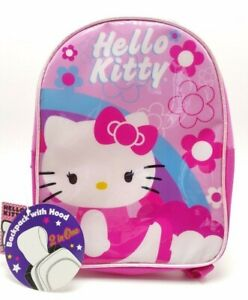 Hello Kitty Pink Girls Mini Backpack Purse Travel Bag 8x10 with Rain Hood