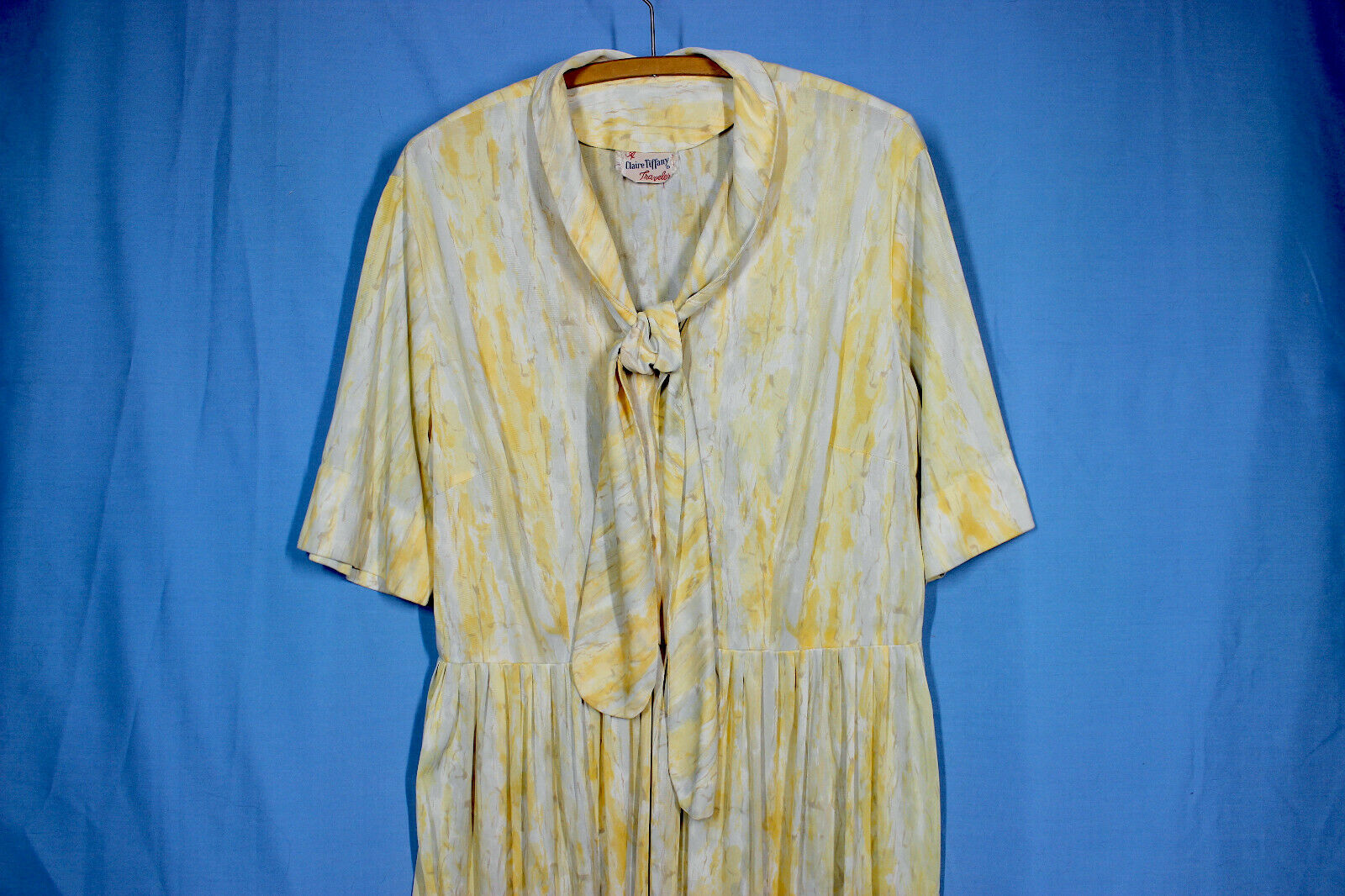Vtg 60s Knit Dress XXL w37 Plus Shirt Rayon Pussy… - image 4