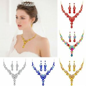 Fashion-Wedding-Bridal-Party-Crystal-Statement-Necklace-Earrings-Jewelry-Set-HOT