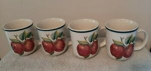 Set Of 4 Casuals By China Pearl Apple Ceramic Mugs Cups Vintage