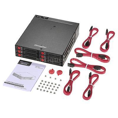 6 Bays 2.5'' SATA HDD SSD Hard Drive Mobile Rack Backplane Hot-swap w/Fan Locker