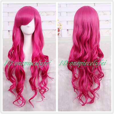 80cm long magenta Lolita wavy Cosplay Party wig CC106 + a wig cap