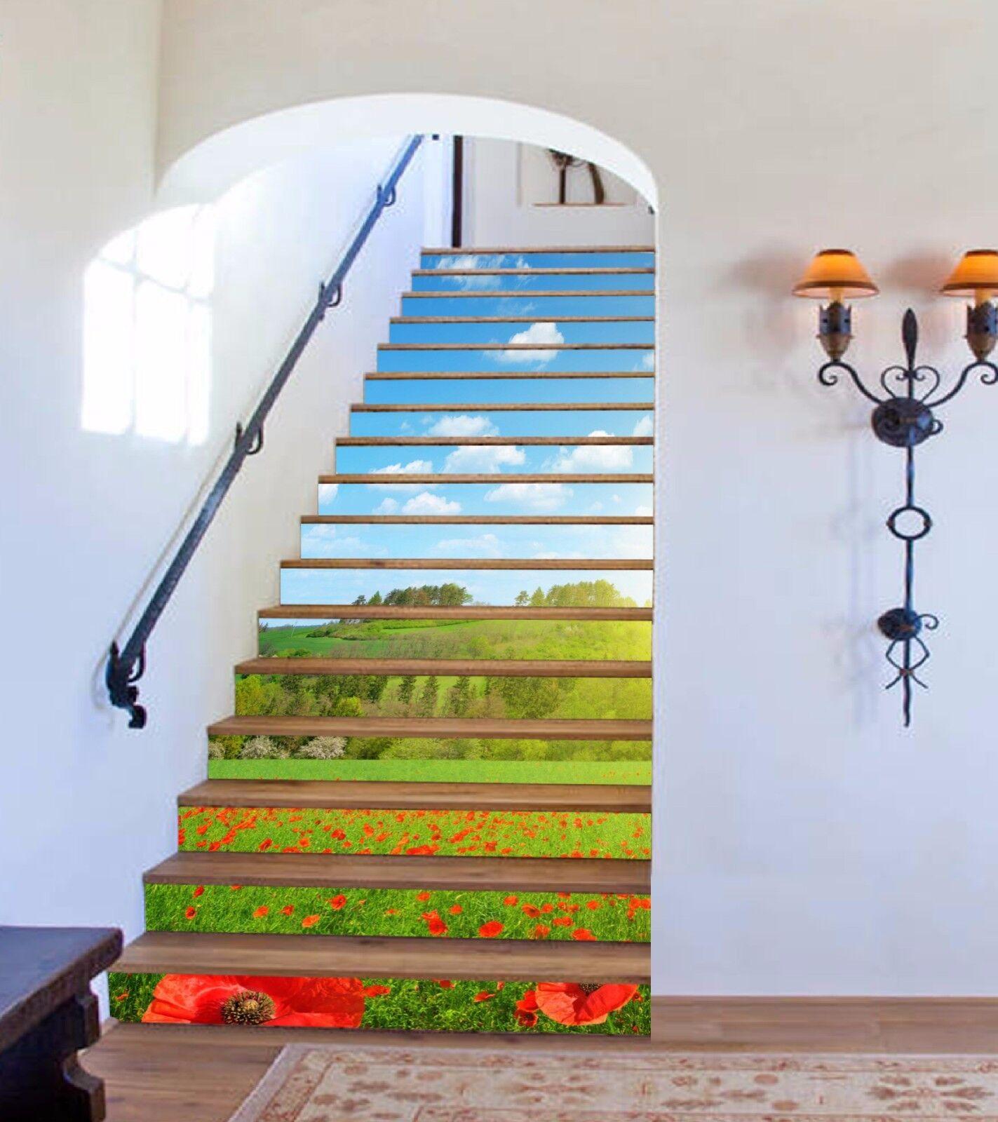 3D Prärie Blume 736 Stair Risers Dekoration Fototapete Vinyl Aufkleber Tapete DE