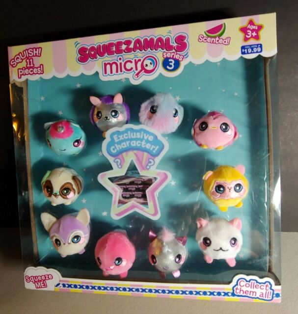 NEW! Squeezamals Plush Micro Series 3 Scented - 11 Pieces w Exclusive Character