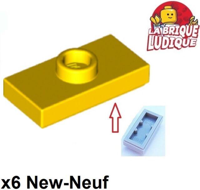 6 x LEGO 15573 Plaque Tenon Plate 1x2 With 1 Stud NEUF NEW jaune yellow