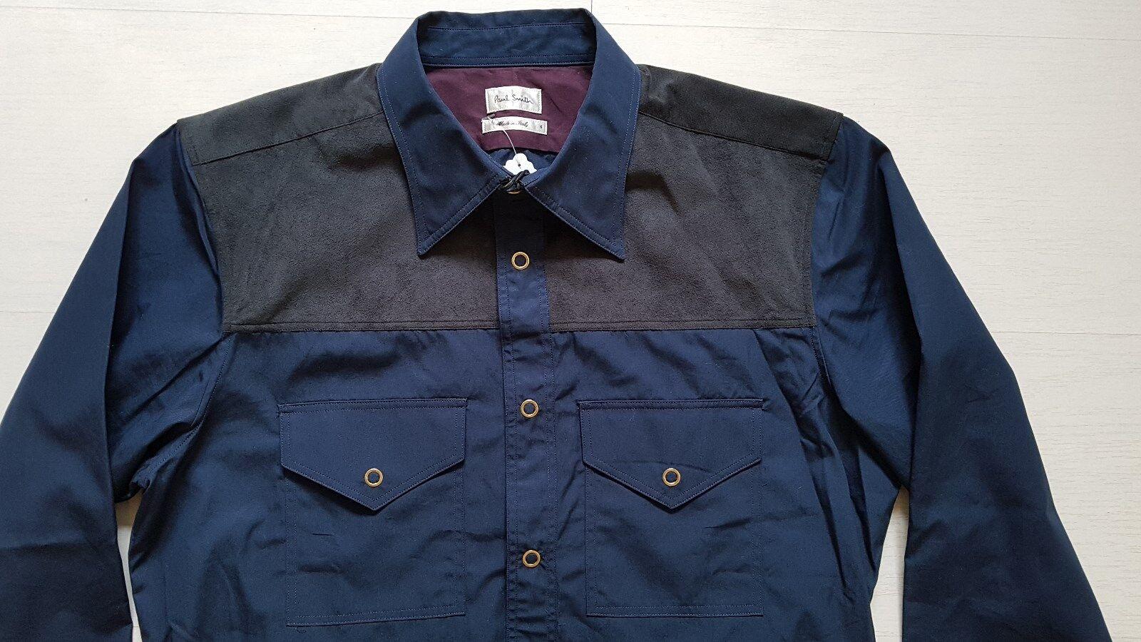 Paul Smith camicia in tessuto a contrasto, taglia S, TAG Nuovo di zecca con