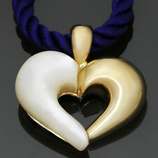 VAN CLEEF & ARPELS Mother-Of-Pearl 18k Yellow Gold Silk Cord Heart Pendant