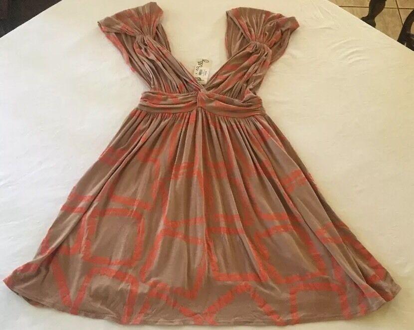 NWT Rare Rachael Pally Papaya Squares Mini Caftan Dress Small.  235.
