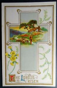 Postcard-The-Lord-is-Risen-Cross-Easter-Country-Scene