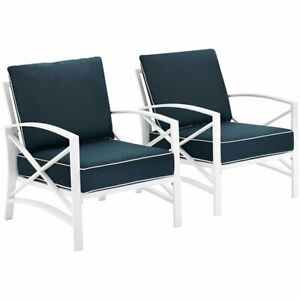 Crosley Kaplan Patio Arm Chair in Navy and White (Set of 2)