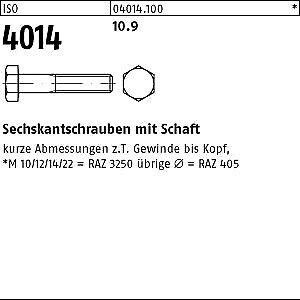 25 Sechskantschrauben ISO 4014 10.9 schwarz M16x160