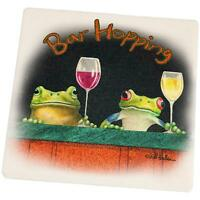Bar Hopping Frogs Funny Set Of 4 Square Sandstone Coasters