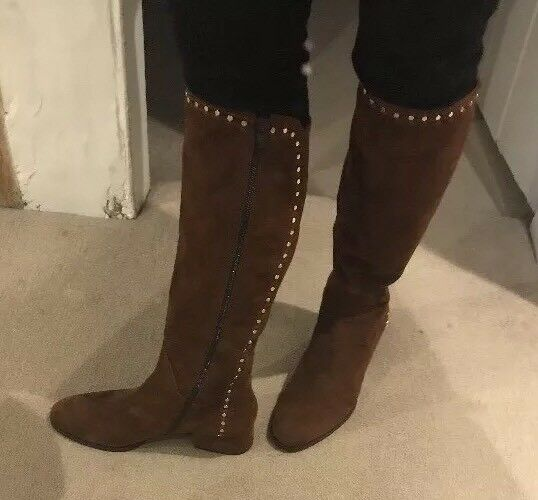Tan Suede Italian Knee High Stiefel Größe 40 (7) New/boxed.bargain