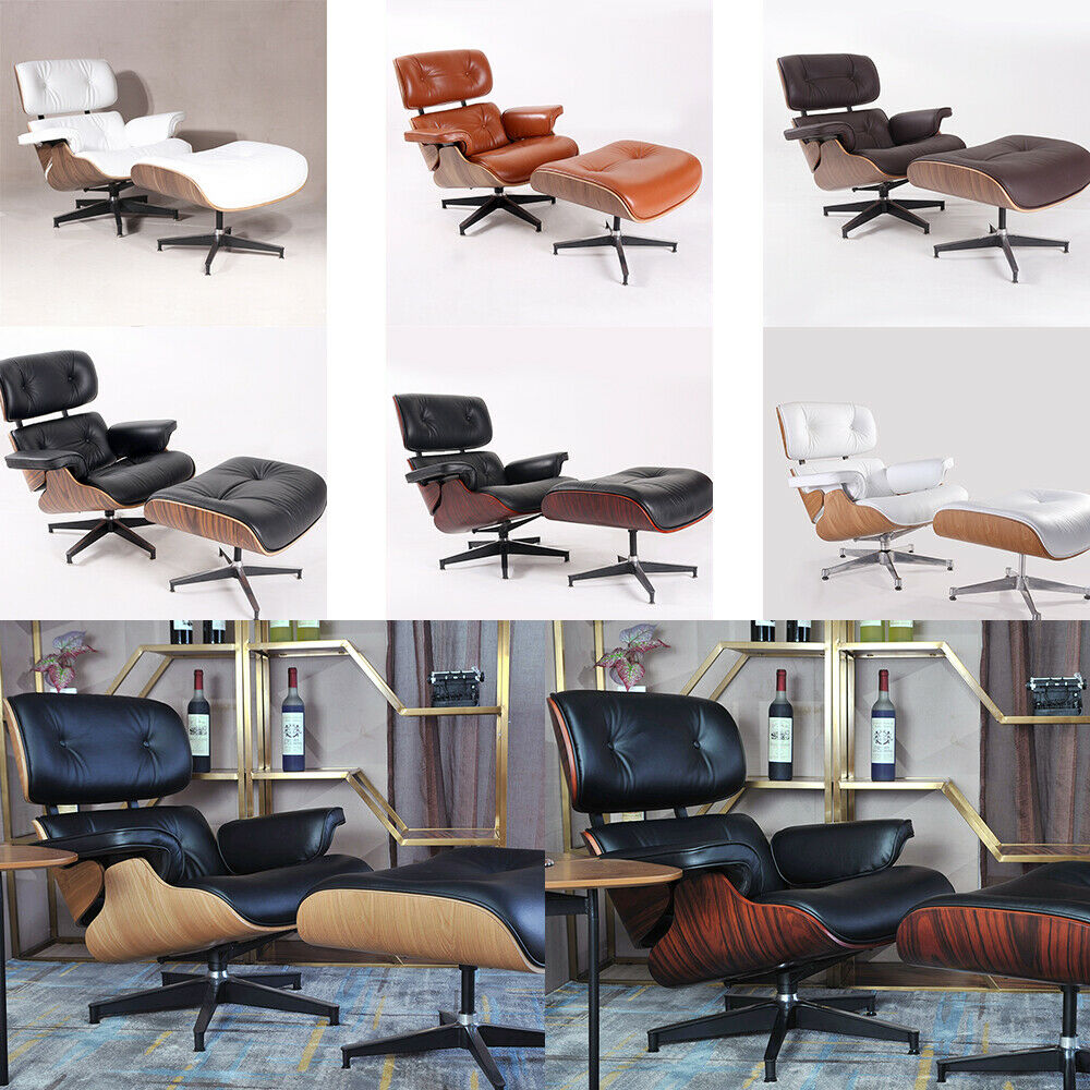 Eames Lounge Chair Living Room premium eames lounge chair and ottoman italian leather armchair recliner