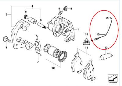 BMW Brake Pad Wear Sensor Rear 2000-2006 E53 X5 GENUINE 34351165580