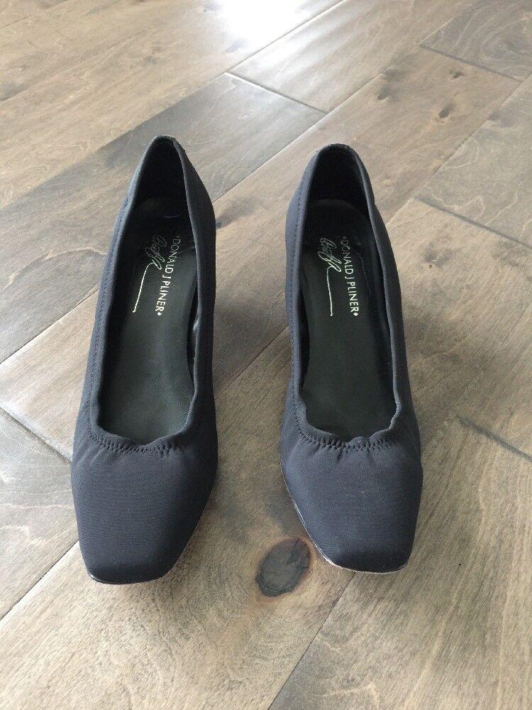 Donald shoes J Pliner Womens 8 M Black Stretch Crepe shoes Donald pumps kitten heels leather 719e35