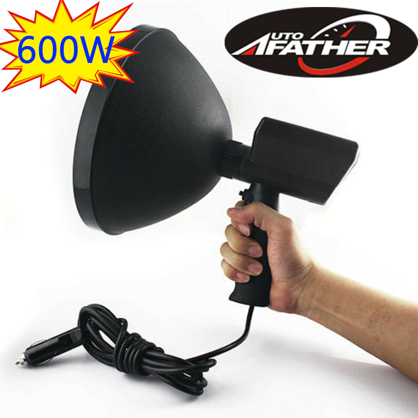 HandHeld Spotlight 12V 600W 9 Inch 240mm Driving Lamps Hunting SearchLight 6000K