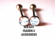 316l Surgical Steel *FBOOK ONE LIKE & POKE ME* Tongue Ring - TR209