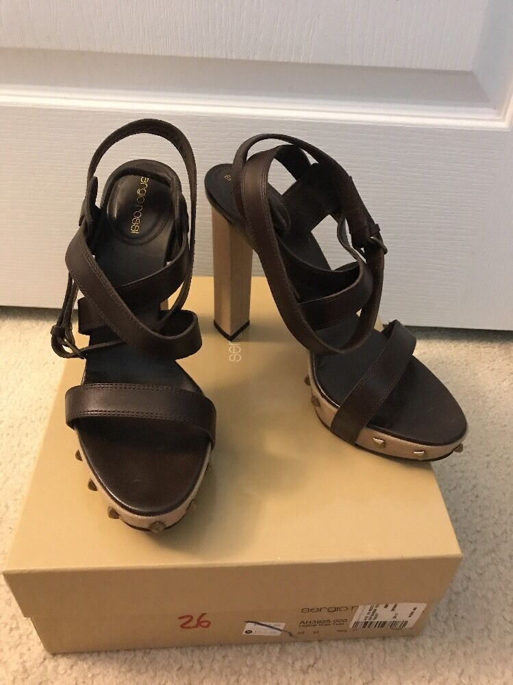 Sergio Rossi Rossi Rossi High Heel Brown Strappy Studded Platform Sandals 39.5 With Box f634e7