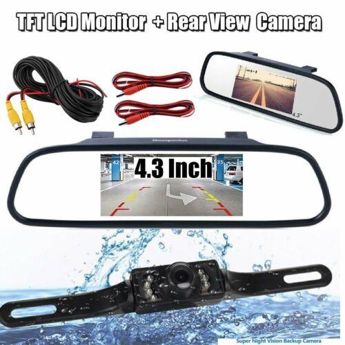 "4.3/"" Car LCD Monitor Mirror+Wireless Reverse Car Rear View Backup Camera"