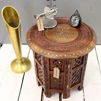Small Side Table Wooden Round Coffee Lamp End Brown Hand Carved Indian Home Room